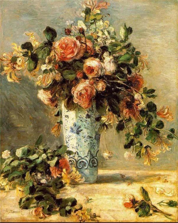Pierre Auguste Renoir Roses And Jasmine In A Delft Vase