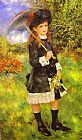 young girl on a Framed Prints - Young Girl with Parasol (Aline Nunes)