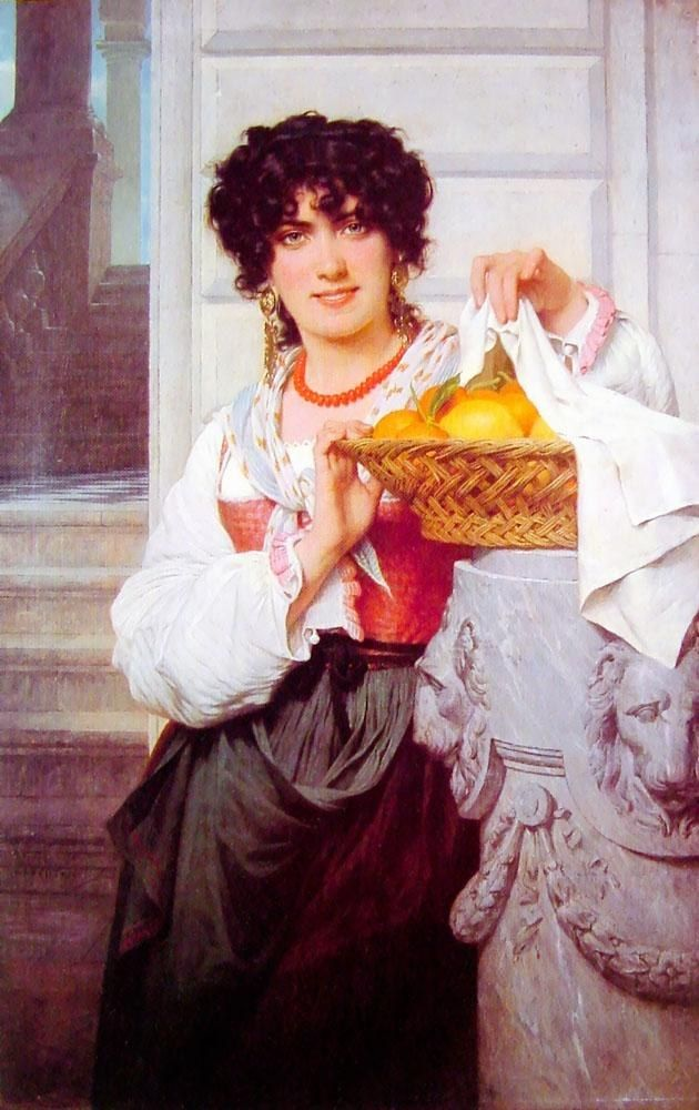 Pierre-Auguste Cot Pisan Girl with Basket of Oranges and Lemons