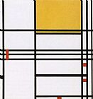 Piet Mondrian omposition with Black White Yellow and Red painting