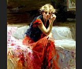 Pino red dress painting