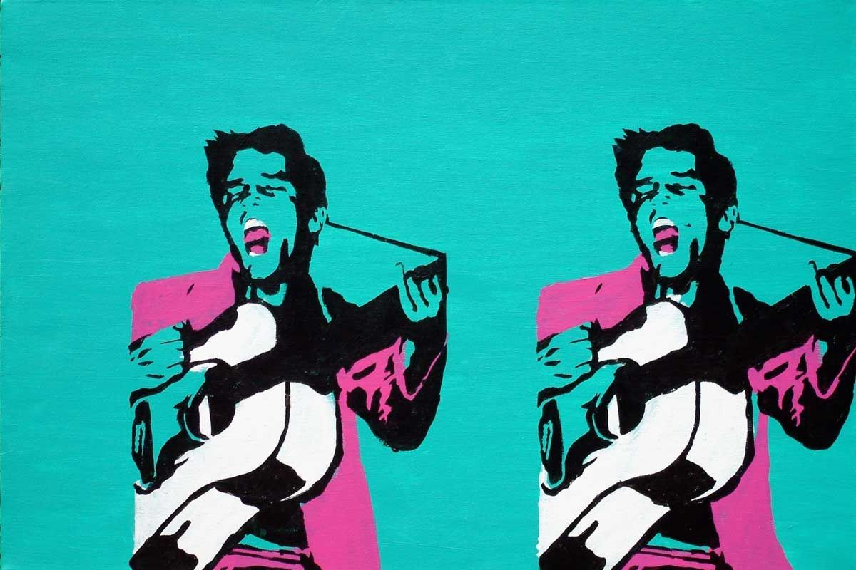 Pop art guitar player