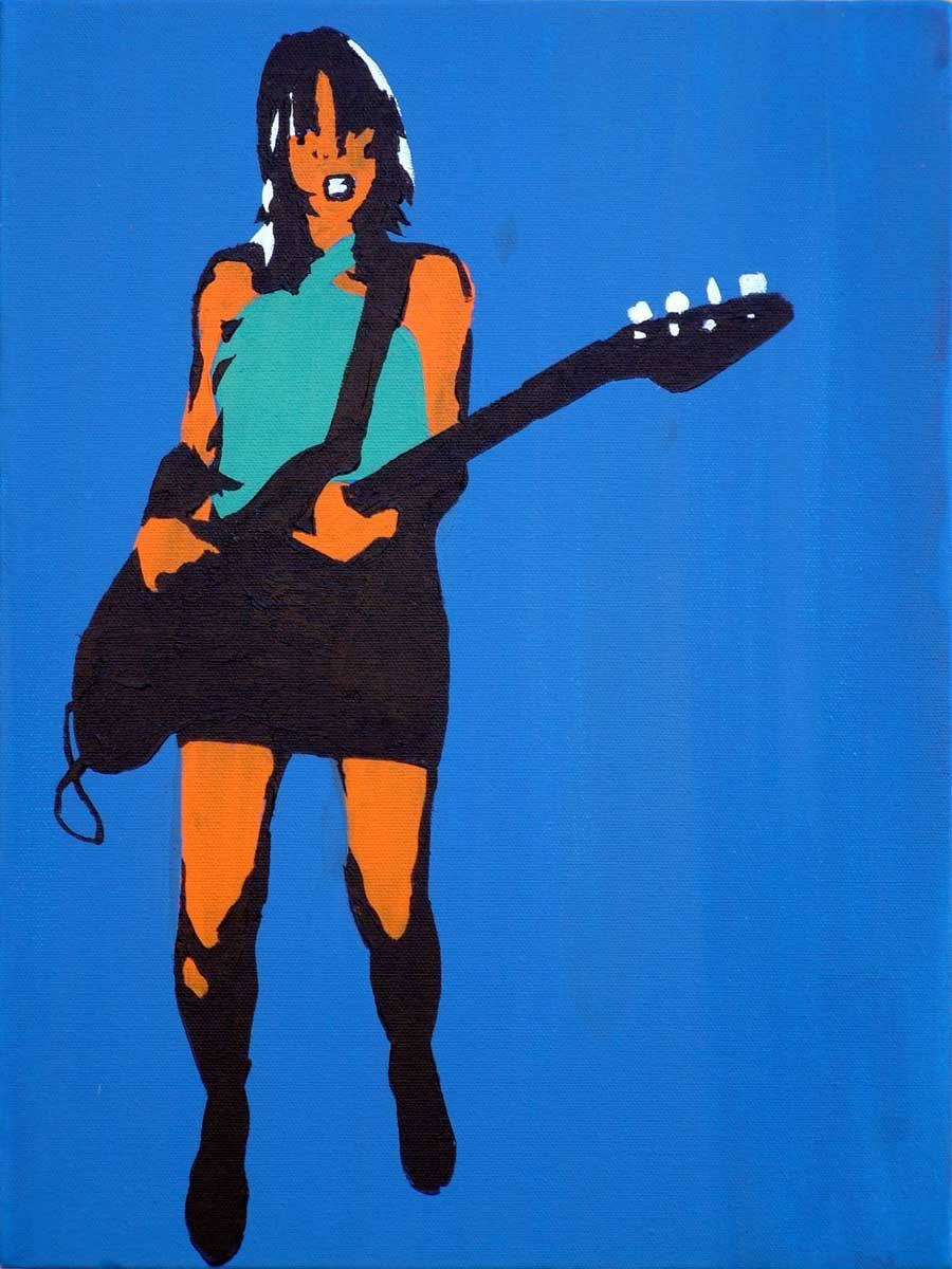Pop art kim gordon on blue