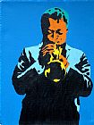 Pop art miles 1960, on blue painting
