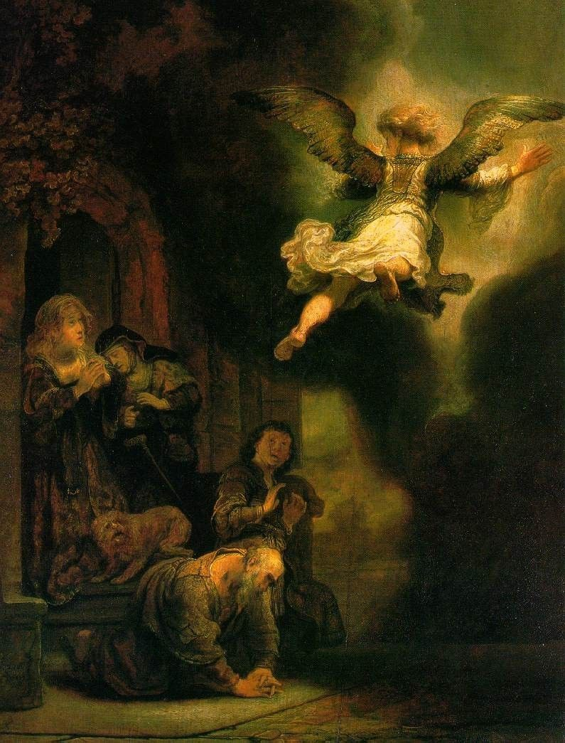 Rembrandt The Archangel Leaving the Family of Tobias
