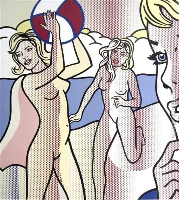 Naked woman with beach ball #7
