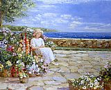 two sisters on the terrace Canvas Prints - Afternoon on the Terrace