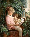 Sally Swatland Reading with 'Oatmeal' painting
