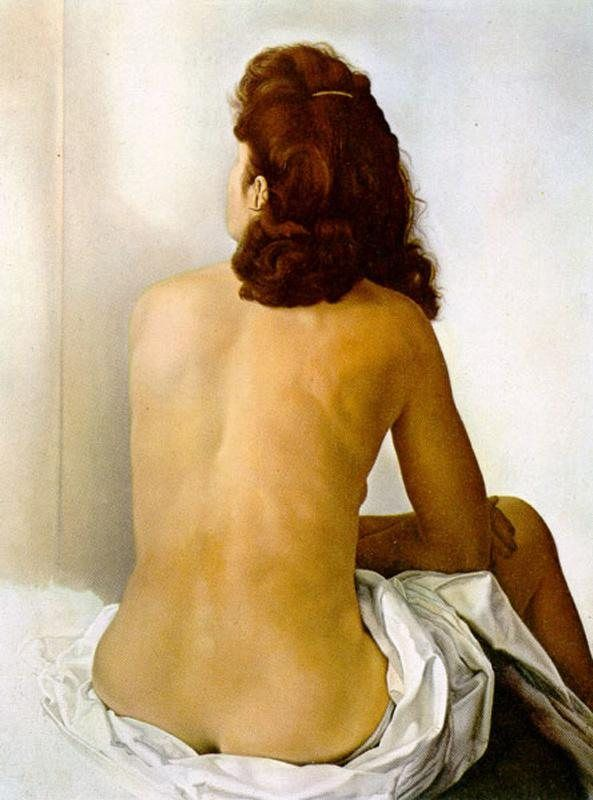 Salvador Dali Gala Nude From Behind Looking in an Invisible Mirror