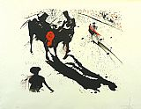 Sports paintings - Bullfight 1 by Salvador Dali