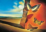 Abstract paintings - Paysage aux papillons (Landscape with Butterflies) by Salvador Dali