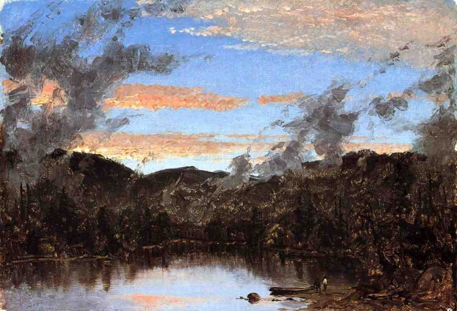 Sanford Robinson Gifford A Mist Rising at Sunset in the Catskills