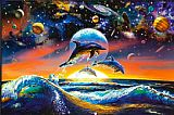 Sea life paintings - Dolphin Universe by Sea life
