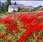 Shirley Novak Spring's Poppy Crop painting