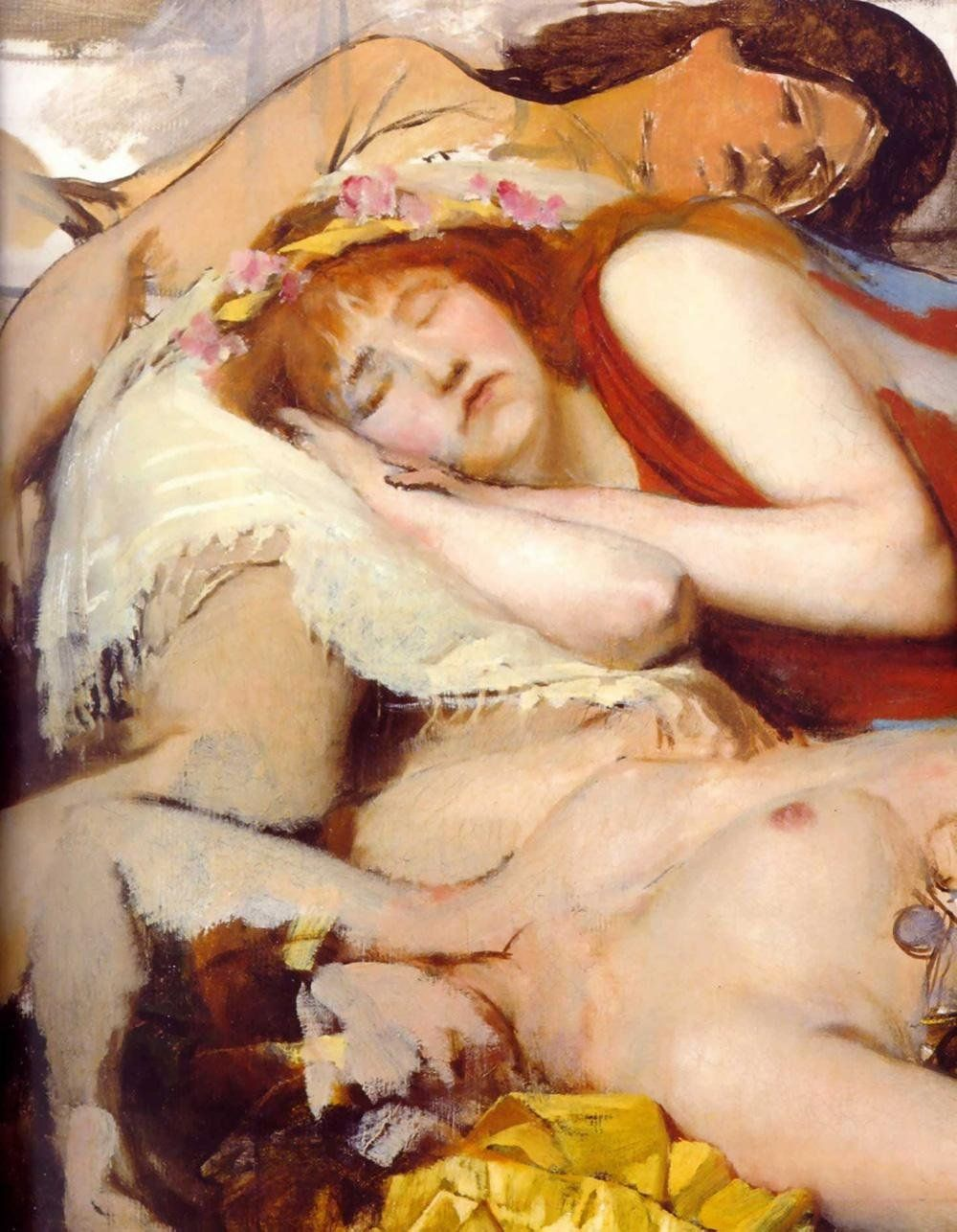 Sir Lawrence Alma-Tadema Exhausted Maenides after the Dance