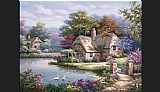 Sung Kim Swan Cottage I painting