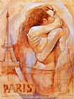 Talantbek Chekirov Embrace in Paris painting