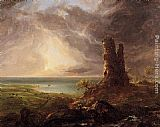 Thomas Cole Romantic Landscape with Ruined Tower painting