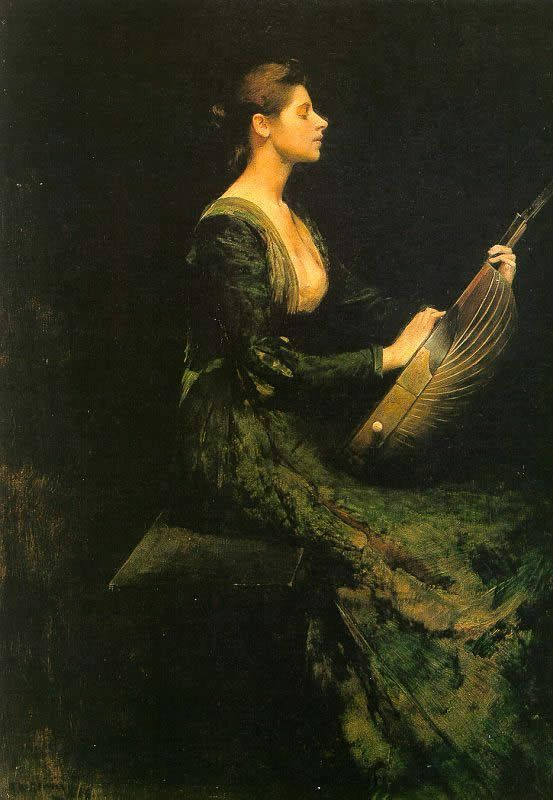 Thomas Dewing Lady with a Lute