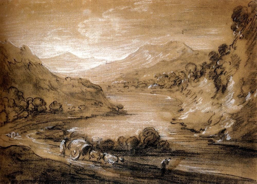 Thomas Gainsborough Mountainous Landscape With Cart And Figures