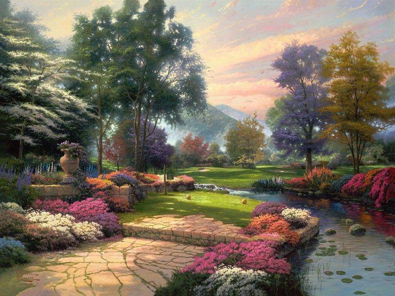 Thomas kinkade paintings thomas kinkade living waters painting