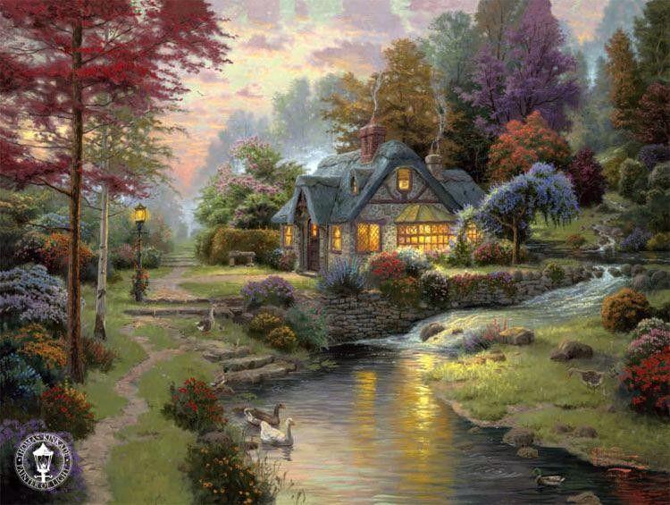 Log cabin in the woods painting - Thomas Kinkade Log Cabin Painting Thomas Kinkade Paintings