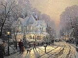 City paintings - A Holiday Gathering by Thomas Kinkade