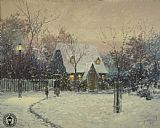 City paintings - A Winter's Cottage by Thomas Kinkade