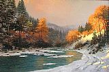 Thomas Kinkade Autumn Snow painting