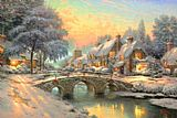 Thomas Kinkade Cobblestone Christmas painting