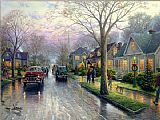 City paintings - Hometown Christmas by Thomas Kinkade