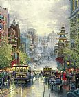 kerns river valley california Paintings - San Francisco A View Down California Street From Nob Hill