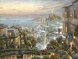 City paintings - San Francisco Lombard Street by Thomas Kinkade