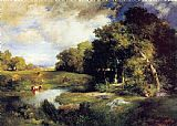 Landscape paintings - A Pastoral Landscape by Thomas Moran