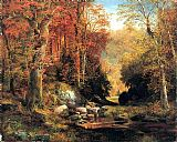 Thomas Moran Cresheim Glen, Wissahickon, Autumn painting