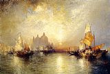 Venice paintings - Entrance to the Grand Canal, Venice by Thomas Moran