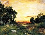 Thomas Moran Sunset, Long Island Sound painting
