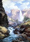 Thomas Moran Waterfall in Yosemite painting