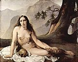 Mary Magdalene paintings - The penitent Mary Magdalene by Francesco Hayez by Unknown Artist