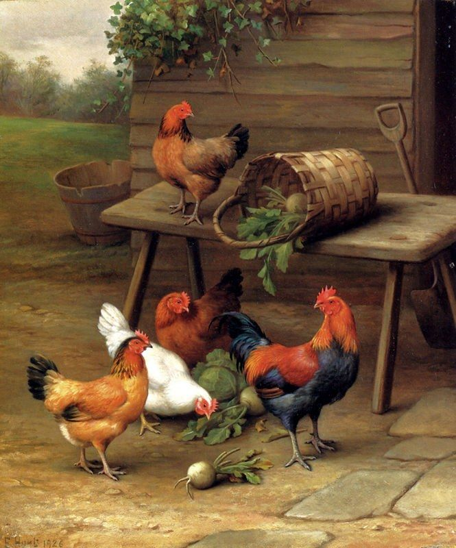 Unknown Artist Chickens art