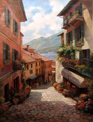 Unknown Artist Lake Como Italian Village by Paul Guy Gantner