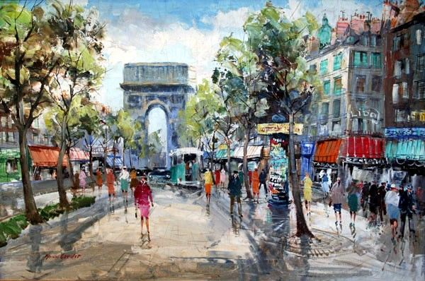 Unknown Artist Paris Street Scene