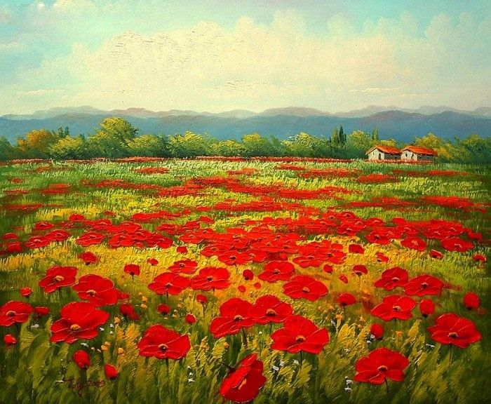 Unknown artist poppy field painting ipaintingsforsale unknown artist poppy field mightylinksfo