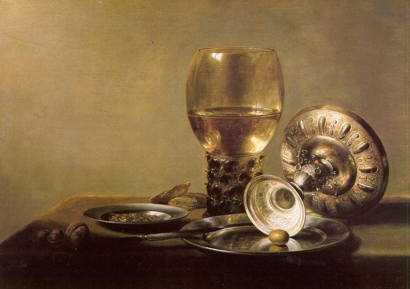 Unknown Artist Still Life with Wine Glass and Silver Bowl