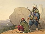 Unknown Artist Afghaun foot soldiers in their winter dress, with entrance to the Valley of Urgundeh painting