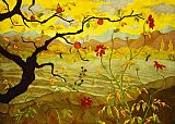 Unknown Artist Apple Tree with Red Fruit by paul ranson painting
