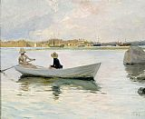 Unknown Artist Boats in Harbour by Albert Edelfelt painting