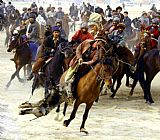 Horse Racing paintings - Buzkashi by Unknown Artist