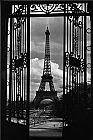 Unknown Artist Eiffel Tower Through Gates painting