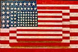 Abstract paintings - Jasper Johns three flags by Unknown Artist